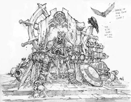 Dungeon Runners skeleton king on throne concept art (Pencil)