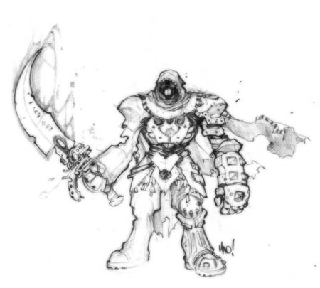 Dungeon Runners cyborg warrior concept art (Pencil)