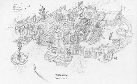 Dungeon Runners blacksmith gareth's shop concept art (Pencil)