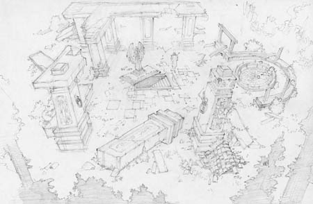 Dungeon Runners crypt entrance concept art (Pencil)