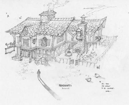 Dungeon Runners merchant's house concept art (Pencil)