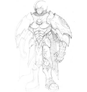 Dungeon Runners player heavy armor concept art (Pencil)