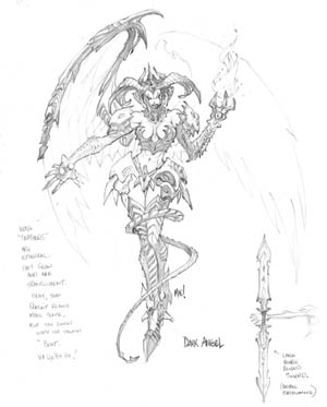 Dungeon Runners Shadowspawn dark angel concept art (Pencil)