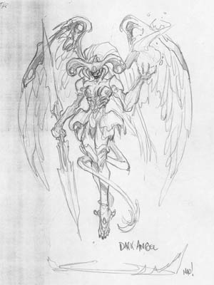 Dungeon Runners Shadowspawn dark angel doodle (Pencil)