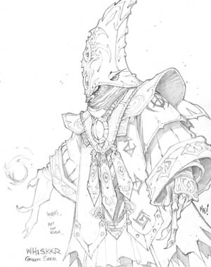 Dungeon Runners whisker green seer concept art (Pencil)