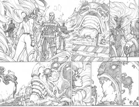 Inhuman #1 double page 6 and 7 (Pencil)