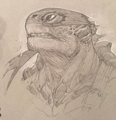 TMNT exploration Head Sketch (profile) (Sketch)