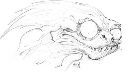 DragonKind creepy monster head concept art (Pencil)