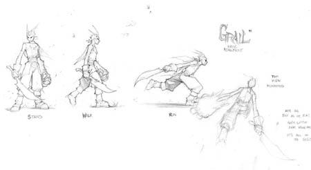 DragonKind Grail basic movement concept art (Pencil)
