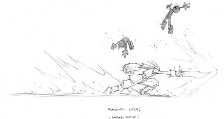 DragonKind Grail forward dash attack concept art (Pencil)