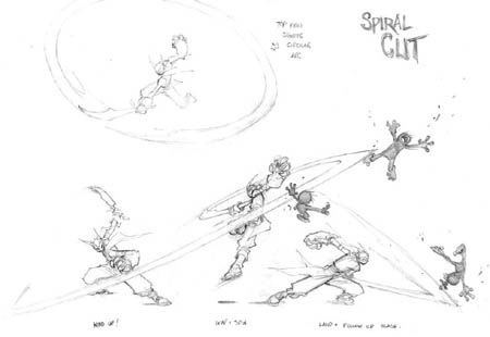 DragonKind Grail spiral cut attack concept art (Pencil)