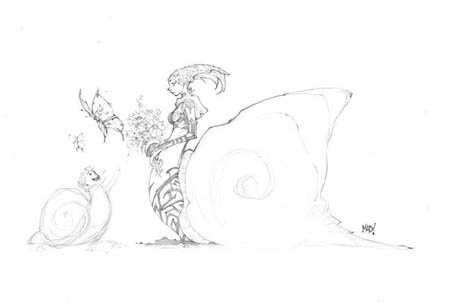 DragonKind snail girl concept art (Pencil)