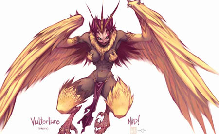 DragonKind vultorture (Harpy) concept art (Color)