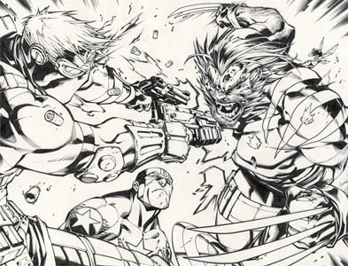 Ultimates3 Mini-series issue #3 double page 2-3 (Ink)
