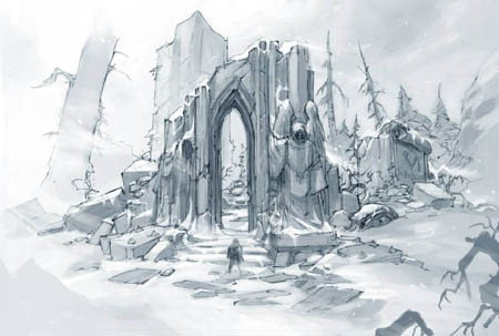 Dark Angels temple ruins concept art (Pencil)