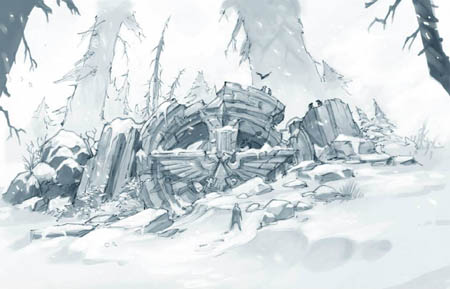 Imperial Aquila temple ruins concept art (Pencil)