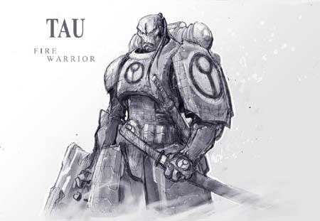 Tau fire warrior concept art (Unused) (Pencil)