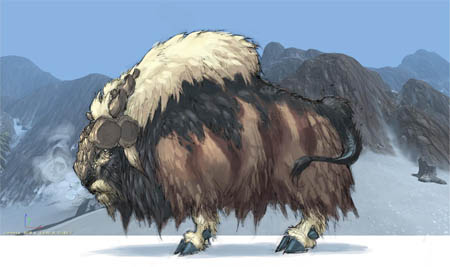 Exploration stuff: buffalo like creature  (Color)