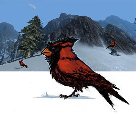 Exploration stuff: cardinal like creature (Unused)