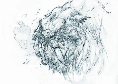 Exploration stuff: zabu like creature portrait (Unused) (Pencil)