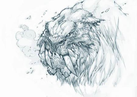 Exploration stuff: zabu like creature portrait (Unused) (Pencil)