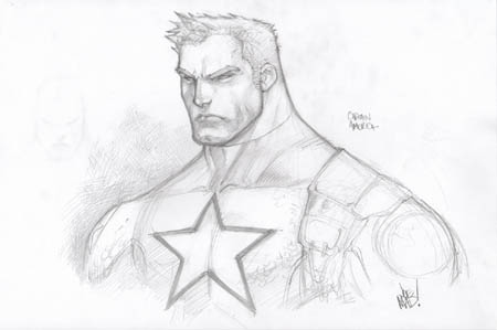 Wizard Magazine #168 Captain America bust  sketch