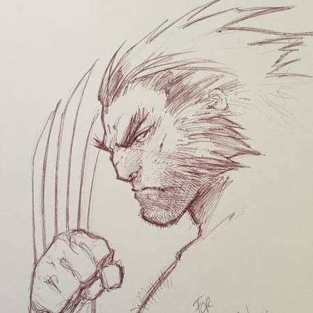 Wolverine sketch gift for the artist Clay Mann