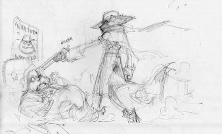 Arrest by Gunslinger Sly Cooper Concept art (Pencil)