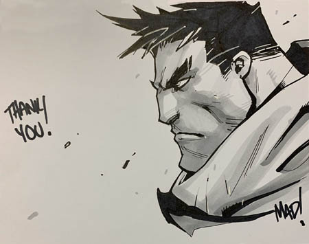 Kickstarter backer reward Garrison inked  sketch
