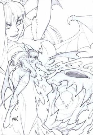 Darkstalkers #1 Morrigan variant cover (Pencil)