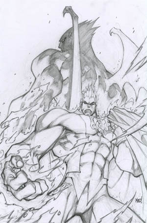 Darkstalkers #4 Demitri variant cover (Pencil)