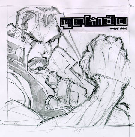 Gekido game cover research Tetsuo sketch