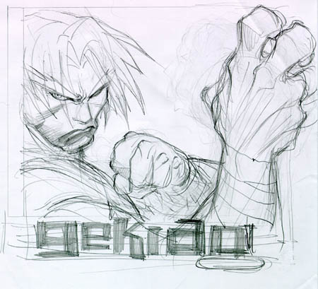 Gekido game cover research Travis sketch