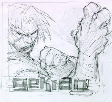 Gekido game cover research Travis sketch