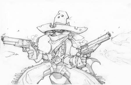 Gunslinger Sly Cooper concept art (Pencil)