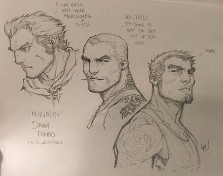 Inhuman Danny Inferno exploration sketches
