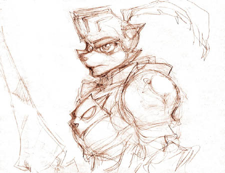 Sly Cooper knight concept art sketch (Sketch)