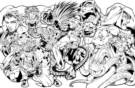 Marvel Super Heroes capcom video game cover (Ink)