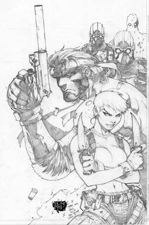 Metal Gear Solid 2 PSM Magazine #36 cover (August 2000) (Pencil)