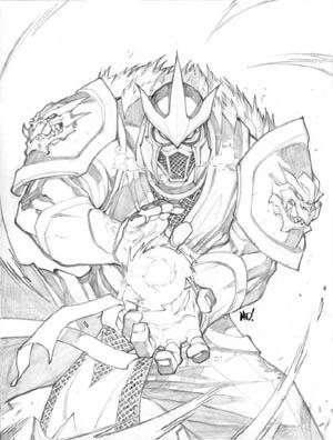 Unused Mortal Kombat 4 PSM Magazine Sub Zero cover (Pencil)