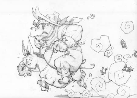 Murray and steed concept art (Pencil)