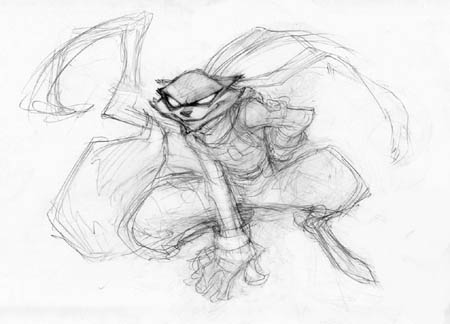 Sly Cooper crouching concept art sketch