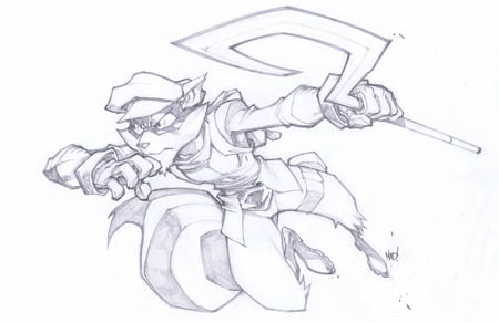 Sly Cooper in action concept art