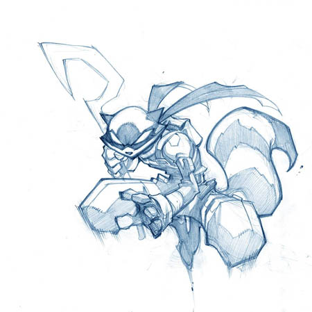 Sly Cooper jumping concept art (Pencil)