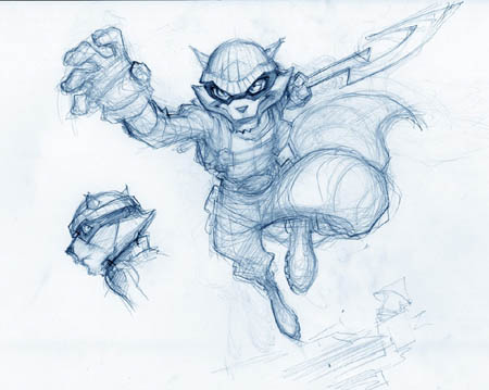 sly Cooper portrait and leaping from roof concept art sketch (Sketch)