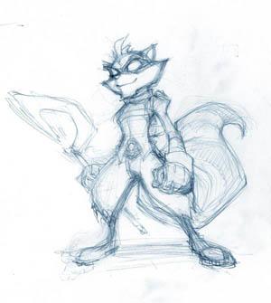 Sly Cooper standing concept art sketch (Sketch)