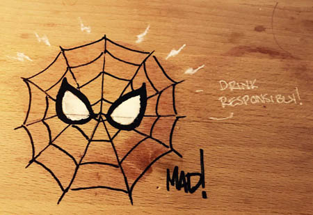 Spider-Man doodle over a wine stain (Other)