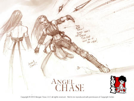 The Iron Saint Angel Chase boob action sketch ;)