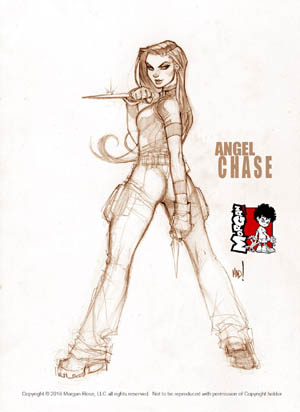 The Iron Saint Angel Chase full body sketch