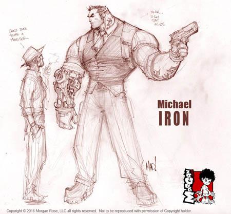 The Iron Saint Mickael full body sketch